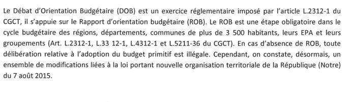 Rapport d'orientation budgétaire 2019