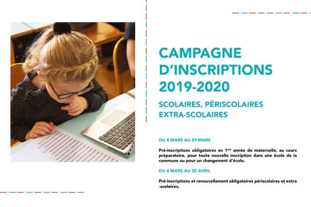 Campagne d'inscriptions scolaires, périscolaires et extra-scolaires 2019-2020