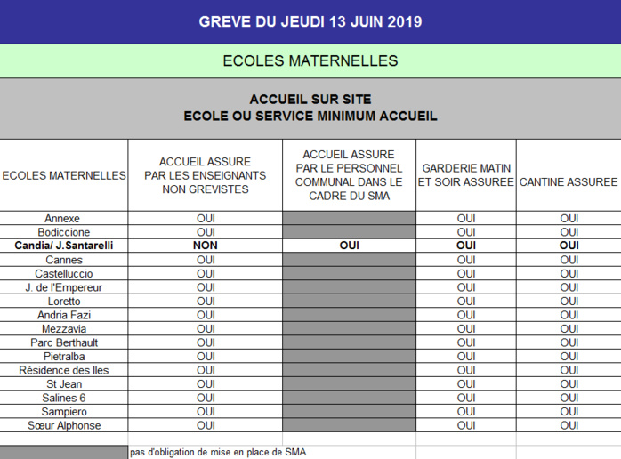 Mouvement de grève dans les écoles maternelles et élémentaires de la Ville d'Ajaccio jeudi 13 juin 2019