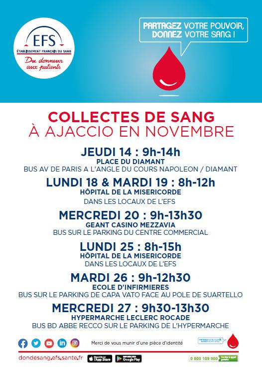 Collectes de sang du mois de novembre