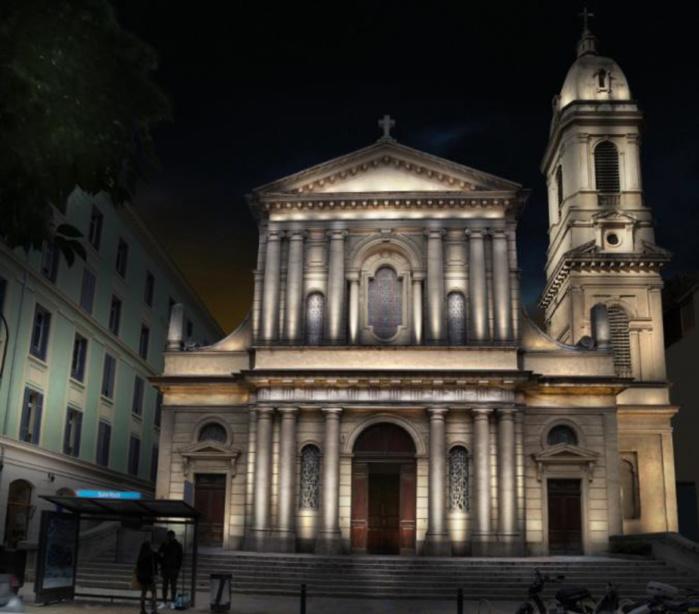 Embellissement du parvis et du trottoir - église Saint-Roch