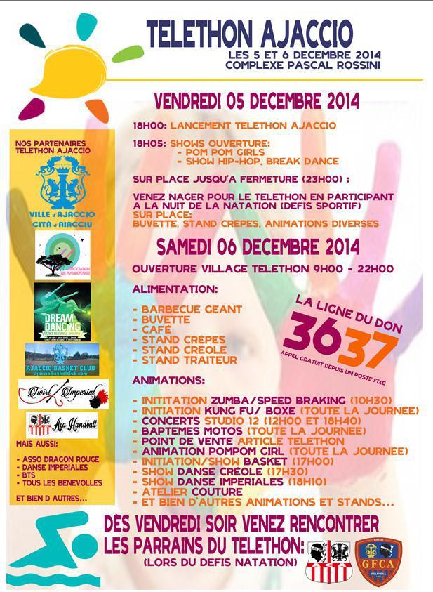 Vendredi 5 et samedi 6 décembre Téléthon 2014 au  Pascal Rossini programme des manifestations du village sportif