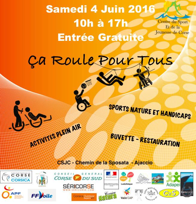 Quatrième édition de « Ça roule pour Tous ! » Les 3 et 4 Juin au Centre du Sport et de la Jeunesse (CSJC) d'Ajaccio