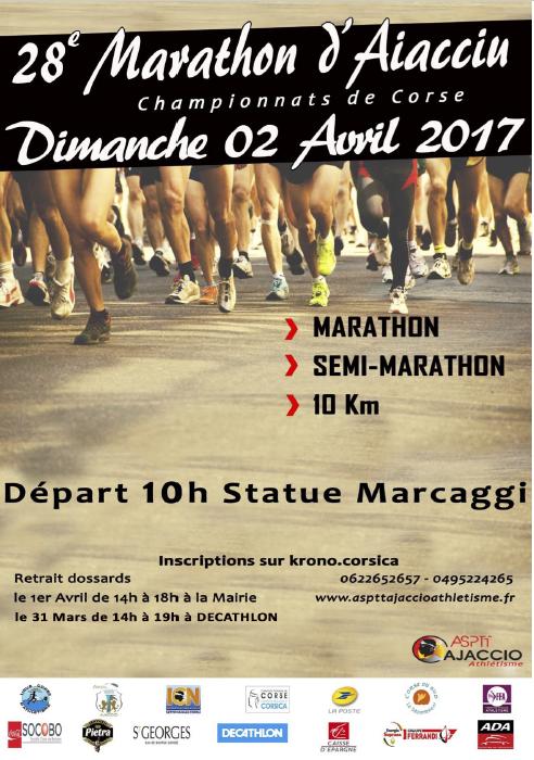 28ème marathon d'Aiacciu départ dimanche 2 avril 10h Statue Marcaggi