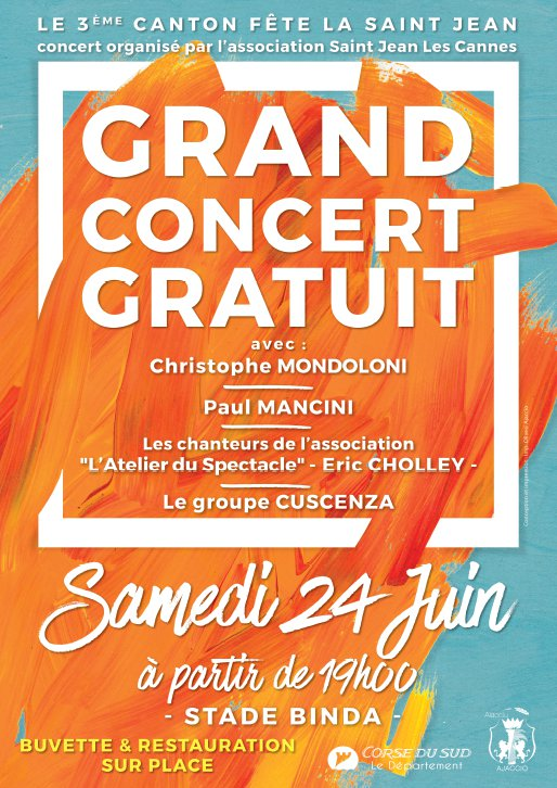 Grand concert gratuit à l'occasion de la Saint Jean samedi 24 juin au stade du Binda