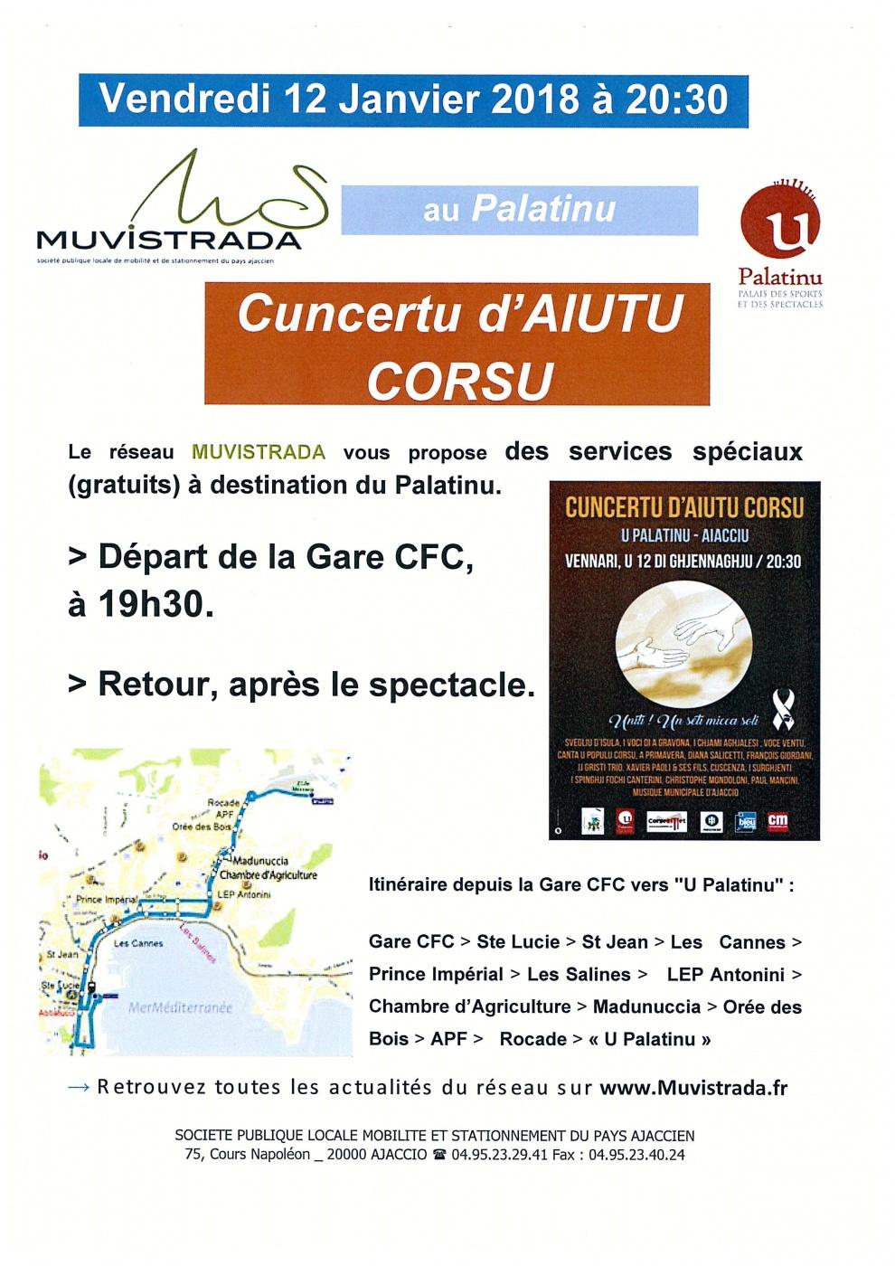 Concertu d'Aiutu Corsu au profit des sinistrés des incendies vendredi 12 janvier 20h30 au Palatinu