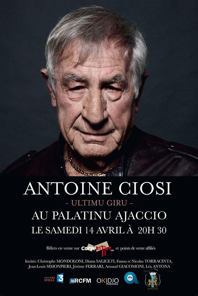 """Concert d' Antoine Ciosi """"L'ultimu giru"""" au Palatinu samedi 14 avril"""