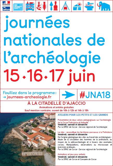 Journées Nationales de l'Archéologie du 15 au 17 juin à la Citadelle d'Ajaccio