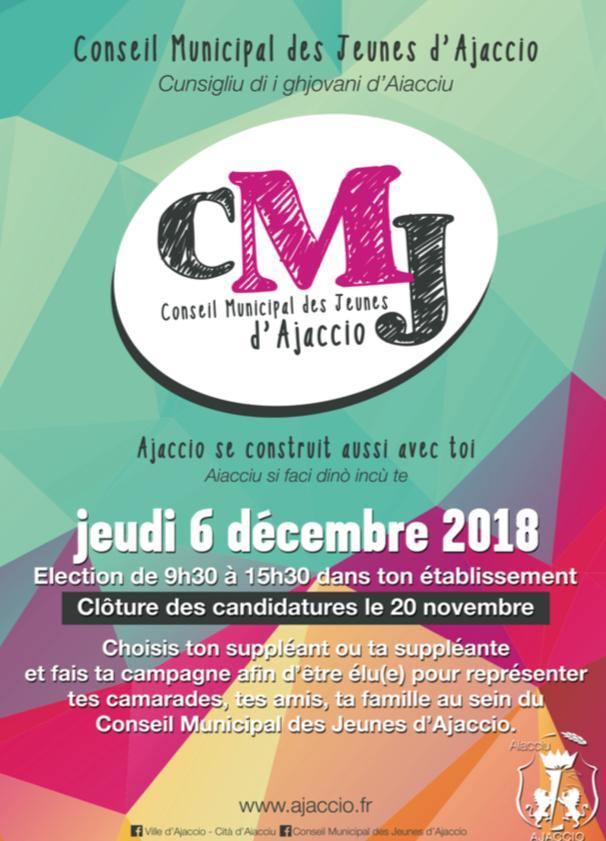Election du Conseil Municipal des Jeunes d'Ajaccio le 6 décembre