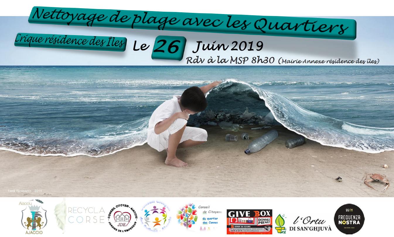 Nettoyage de plage avec les quartiers mercredi 26 juin
