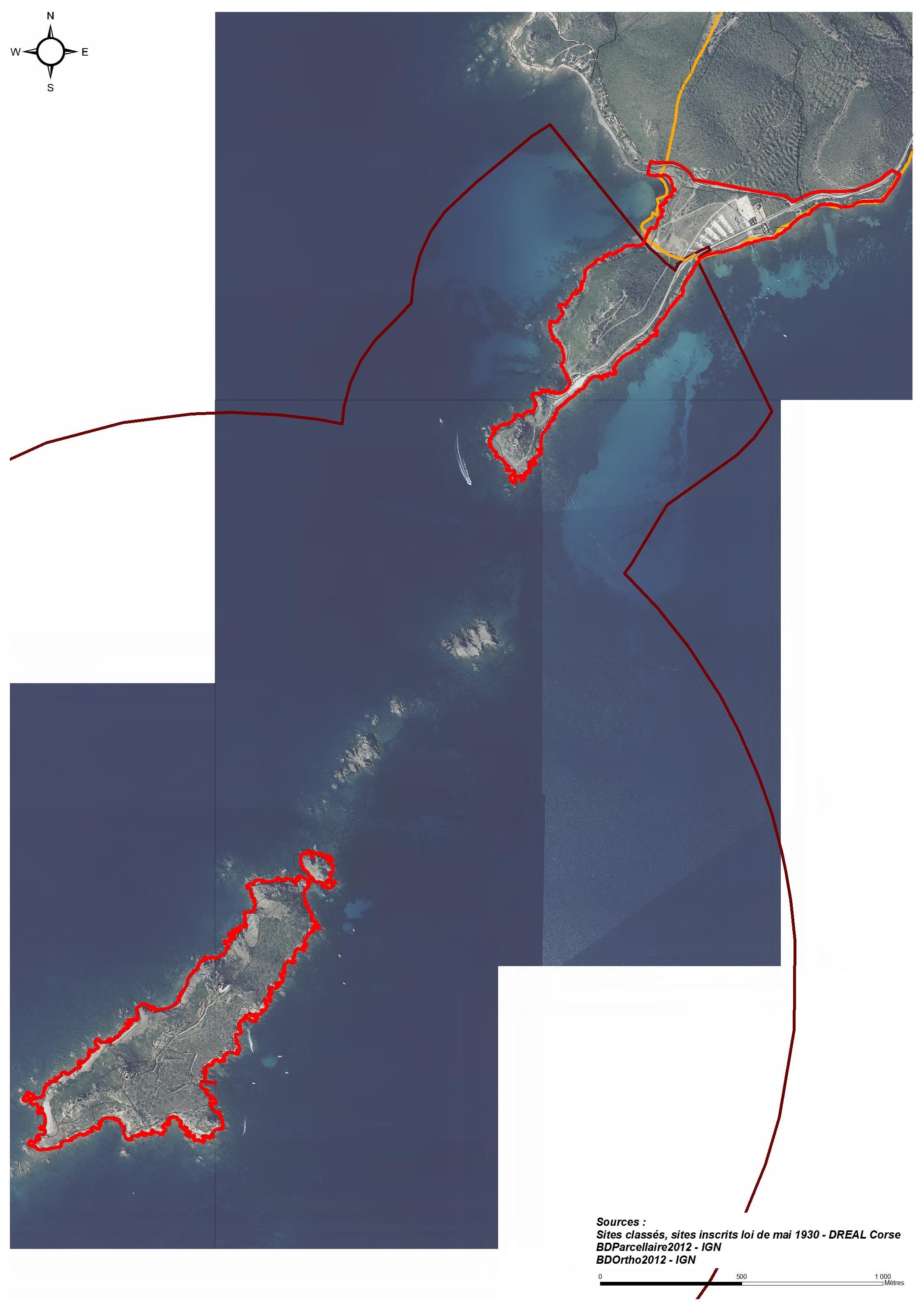 en rouge : Opération Grand Site / en jaune : Site inscrit / en marron : Site classé