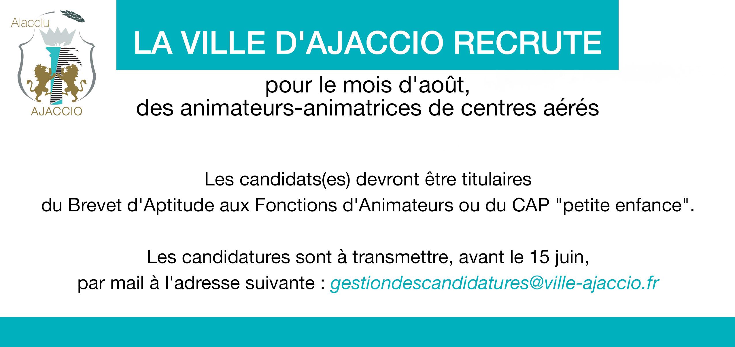 La Ville d'Ajaccio Recrute des animateurs et animatrices de centres aérés pour le mois d'août