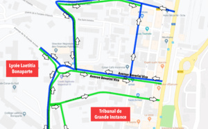 Avenue Beverini Vico plan de circulation du 26 au 30 août
