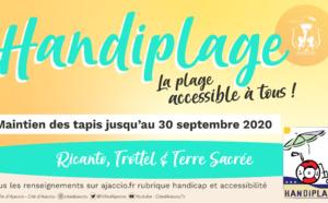 Handiplage 2020 maintien des tapis sur les plages de TROTTEL et RICANTO